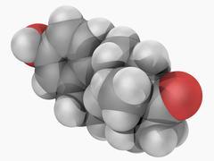estrone hormone molecule - stock illustration