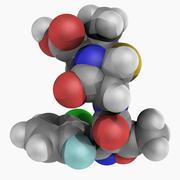 floxacillin antibiotic molecule - stock illustration