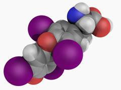 levothyroxine drug molecule - stock illustration