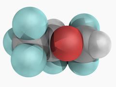 desflurane molecule - stock illustration