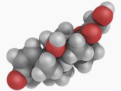 methylprednisolone drug molecule - stock illustration