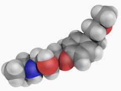 metoprolol drug molecule - stock illustration