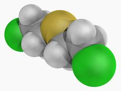Mustard gas molecule Stock Illustration