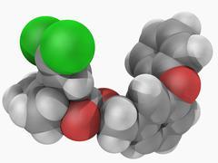 permethrin insecticide molecule - stock illustration