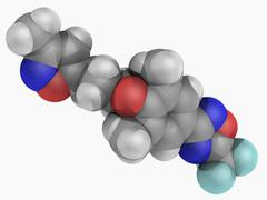 Pleconaril drug molecule Stock Illustration