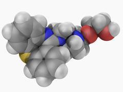 Quetiapine drug molecule Stock Illustration