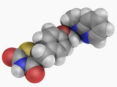 Rosiglitazone drug molecule Stock Illustration
