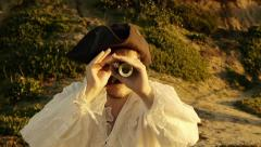 Pirate With Spyglass (HD) - stock footage