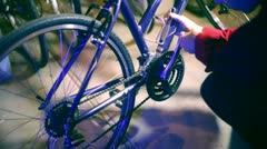 Bike repair repairing bicycle Stock Footage