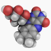 vitamin b2 riboflavin molecule - stock illustration