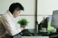 Young punk businesswoman with smartphone in the office Stock Footage
