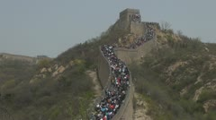 Great wall China crowded tourist tourism landmark icon history up down people Stock Footage