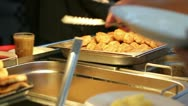 Chef puts food in the dining room Stock Footage