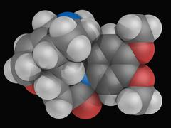 brucine molecule - stock illustration