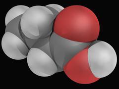 butyric acid molecule - stock illustration