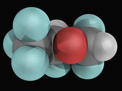 desflurane molecule - stock illustration