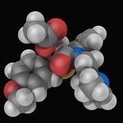 diltiazem drug molecule - stock illustration
