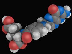 folic acid vitamin b9 molecule - stock illustration
