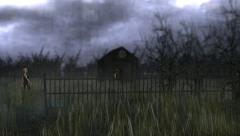 Old Cemetery with Creepy Figures Stock Footage