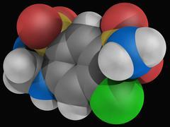 hydrochlorothiazide drug molecule - stock illustration