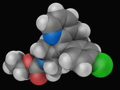 Loratadine drug molecule Stock Illustration
