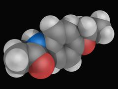 Phenacetin drug molecule Stock Illustration