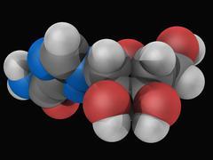 ribavirin drug molecule - stock illustration
