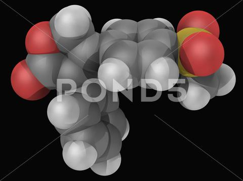 Stock Illustration of rofecoxib drug molecule