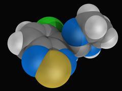 tizanidine drug molecule - stock illustration