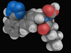 valsartan drug molecule - stock illustration