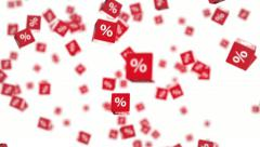 Symbols of percent on falling red cubes Stock Footage