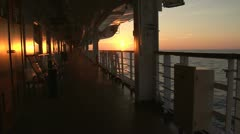 Sunset aboard a cruise ship Stock Footage