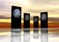 parallel universes, conceptual artwork - stock illustration