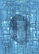 biometric security, artwork - stock illustration