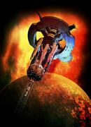 alien spaceship, artwork - stock illustration
