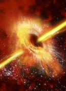 supermassive black hole, artwork - stock illustration