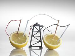 Electrical circuit with lemons Stock Photos