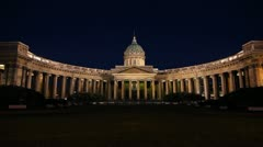The Kazan Cathedral in White nights, St. Petersburg, Russia - stock footage