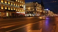 PAN: Nevsky Prospekt in White nights, St. Petersburg, Russia - stock footage