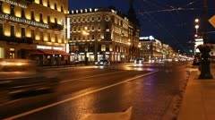 Nevsky Prospekt in White nights, St. Petersburg, Russia - stock footage