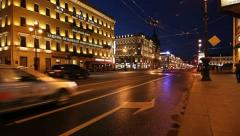 Nevsky Prospekt in White nights, St. Petersburg, Russia Stock Footage