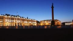 PAN: Hermitage and Palace Square in White nights, St.Petersburg, Russia Stock Footage