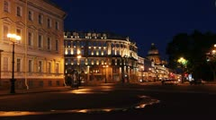 Nevsky Prospect and St. Isaac's Cathedral in White nights, St.Petersburg, Russia - stock footage