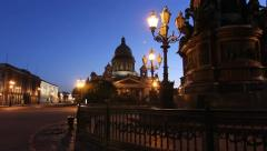 St. Isaac's Cathedral The inclusion of lighting at night, St. Petersburg, Russia Stock Footage