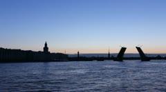 PAN: Silhouette leaf bridge in White nights, St. Petersburg, Russia Stock Footage