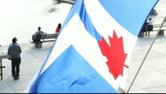 Flag of Toronto over Nathan Phillips Square Stock Footage