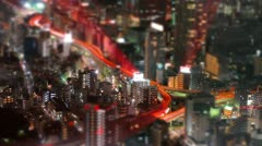 Tilt-shift aerial time-lapse shot of Tokyo's busy city roads. Stock Footage