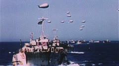 Word War 2 Several D-Day ship clips Stock Footage