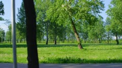Driving near park in the Zagreb capital of Croatia - stock footage