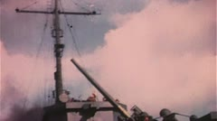 WW2-ColorFootage, Allied Fleed firing at normandy beaches Stock Footage